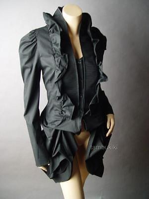 BLK Victorian Goth Steampunk Aristocrat Bustle Tailcoat Ruffle Top fp Blouse 3XL