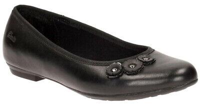 BNIB Clarks Girls Abitha Bela Black Leather School Shoes E//F//G Fitting