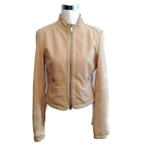 e1a4b6206c Emporio Armani Leather Jacket 42 Nude Beige Zip Up Long Sleeve ...