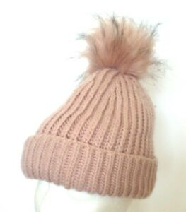 a8b4be381e6 Image is loading Topshop-Faux-Fur-Pom-Pom-Nude-Beanie-Cap-