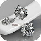 18ct white gold filled GF round brilliant simulated diamonds stud earrings 6MM