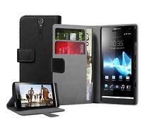 Billetera Negra De Cuero Flip Case Para Sony Xperia S Lt26i-Funda Funda Pouch