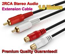 2RCA Red White Male Female Socket Speaker Extension Cable Audio Sound Lead 1.8M