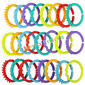 24pcs-New-Plastic-Baby-Stroller-Gym-Play-Mat-Toys-Rainbow-Teether-Ring-Links-ONE