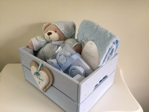 Beautiful Baby It/'s A Girl Or Boy Hamper In Wooden Storage Box Gorgeous Gift