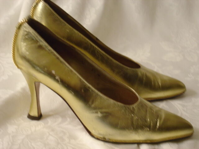 Sesto Meucci Ole gold Leather High Heels 8.5 M (Spain) glam & glitzy As Is