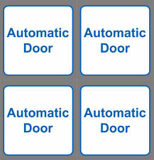 4x AUTOMATIC DOOR sign sticker white & blue frame vinyl square 8mm x 8mm small