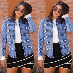 Women-039-s-Casual-Buttons-Denim-Jackets-Slim-Fit-Long-Sleeve-Collarless-Jean-Coats