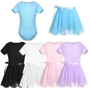 Kids-Girls-Ballet-Dance-Dress-Gymnastics-Short-Sleeve-Leotard-Skirt-Set-Costumes