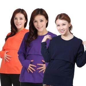dac7cc4db51fc Image is loading Trendy-Pregnant-Maternity-Clothes-Nursing-Tops- Breastfeeding-Long-