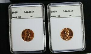 1958 & 1959 Proof Lincoln cents    * High Grade