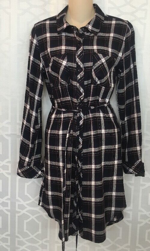 Rails Dress Navy And White Plaid Long Sleeve Size Xs