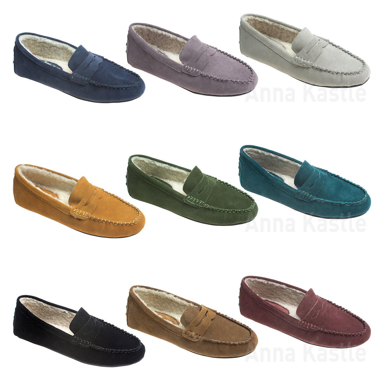 Cuero Gamuza para mujer Shearling AnnaKastle Mocasín Mocasín Conducción Zapatos Zapatos Zapatos Penny  buscando agente de ventas