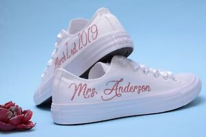4bebf3e7f9ad Image is loading Personalised-Rose-Gold-Glitter-Wedding-Converse-Trainer -For-