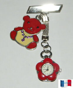 MONTRE-BROCHE-INFIRMIERE-OURSON-FLEUR-ROUGE-NEUF