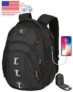 Backpack for Men 40L Extra Large USB & RFID Fit 15.6 in Laptop School Bags Black