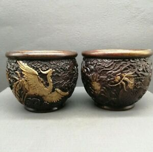 Collectible Decor pair Old Handwork Copper Dragon phoenix statue Pot Jar Crock