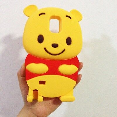 3D Cartoon Winnie Bear Silicone Back Cover Case For Samsung galaxy Note 4 N9100