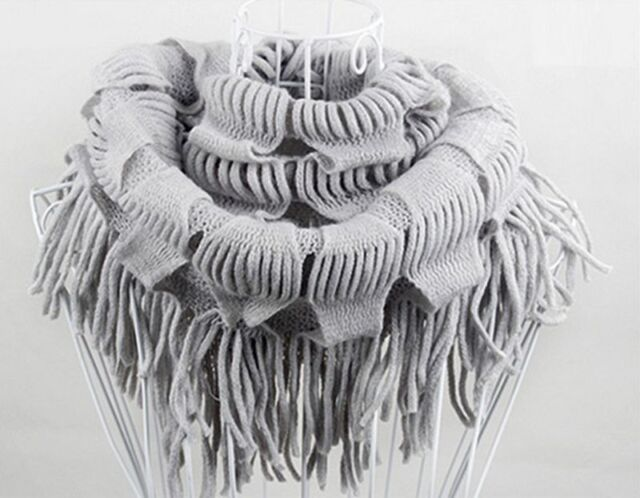 New Best Women Winter Warm Knit Fringe Tassel Neck Wrap Circle Snood Scarf Shawl