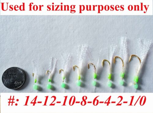 20 Packs size #2 sabiki bait rigs 6 RED hooks offshore saltwater lures