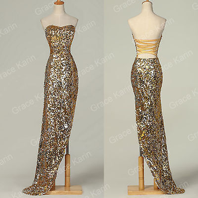 Mermaid Sexy Women Sequins Formal Long Bridesmaid Evening Dress Party Gown Dress