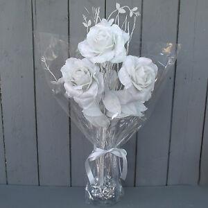 Artificial 58cm whitesilver rose flower arrangement with vase ebay image is loading artificial 58cm white silver rose flower arrangement with mightylinksfo