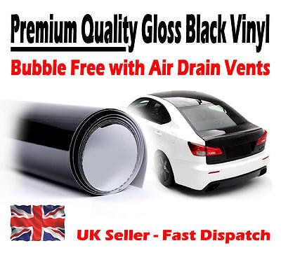 1520mm x 600mm Gloss Black Air Drain Vinyl - Car Wrap / Sticker Self-Adhesive