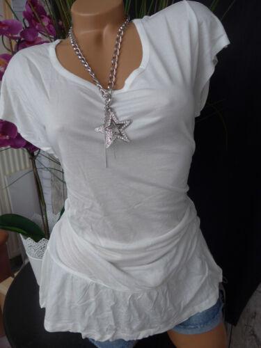 NEU 34-42 Kurzarm Creme Weiß mit Schößchen Chillytime Viskose Shirt Gr 721