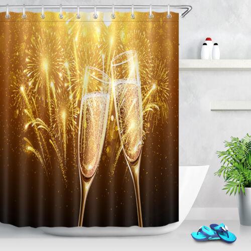 72x72/'/' Bathroom Waterproof Shower Curtain Fabric New Year Fireworks Champagne