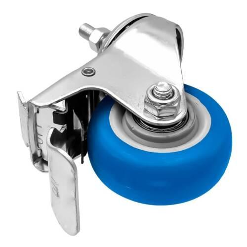 4 Pack 3 Inch Stem Caster Swivel w// Front Brake Blue Polyurethane Caster Wheels