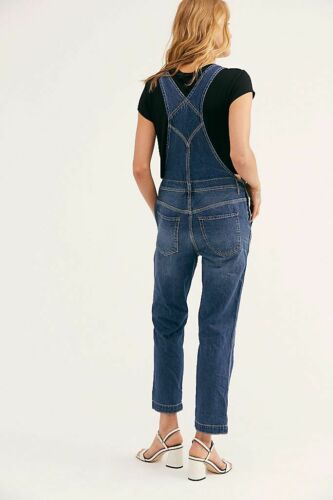 Denim Blue New Free People Boyfriend Dungaree Overall RRP $98