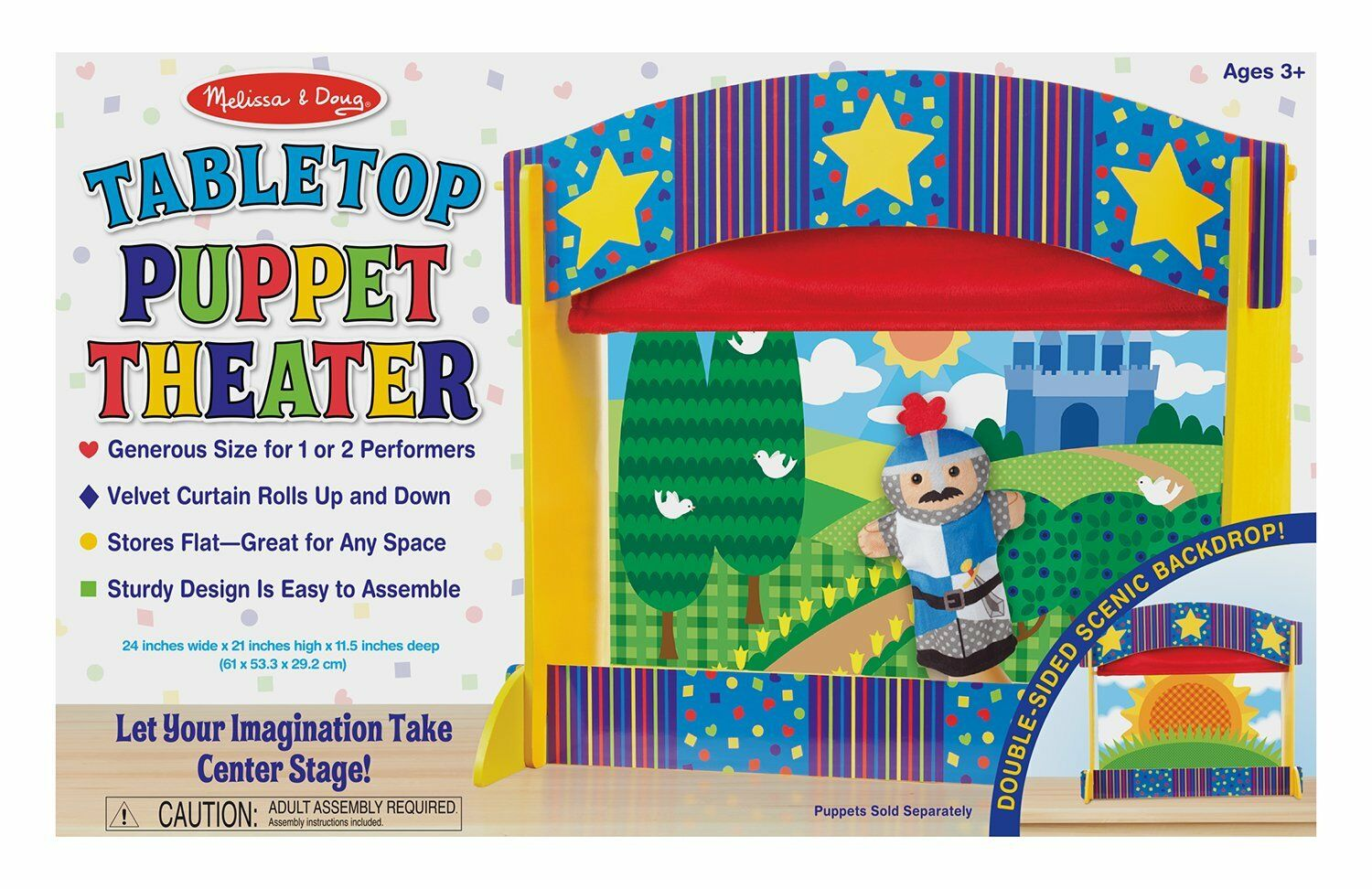 Melissa  Doug Tabletop Puppet Theater - Sturdy Wooden Construction