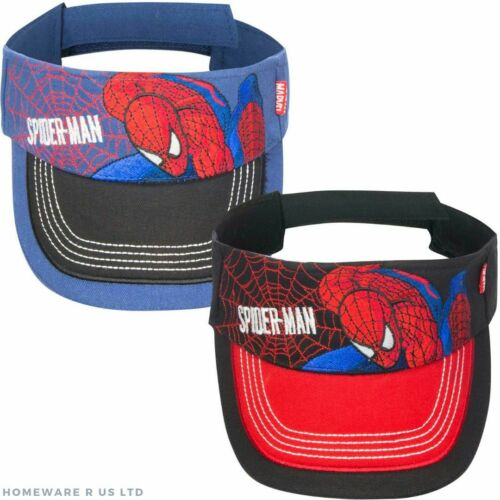 BOYS CHILDRENS MARVEL SPIDERMAN AJUSTABLE SUN VISOR HATS CAPS BLUE RED 3-6 6-9