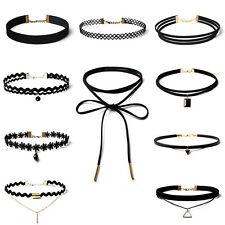 90'S Punk Fashion 10Pcs Choker Necklace Set Velvet Classic Gothic Lace Choker