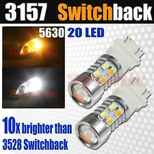 2x 3157 Switchback Amber/White 6000K 5630 Chip LED Projector Turn Signal Lights