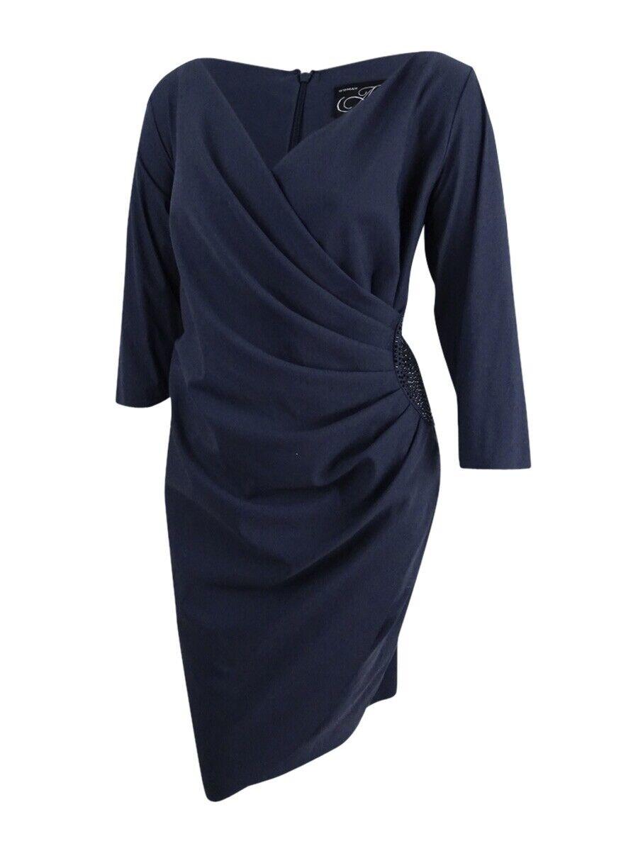 Alex Evenings Woherren Plus Größe Embellished Draped Sheath Dress (22W, Charcoal)