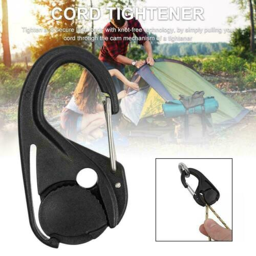 Cord Tightener Lightweight Tie-Down Rope Carabiner Clip Tent Lanyard Hook Tool