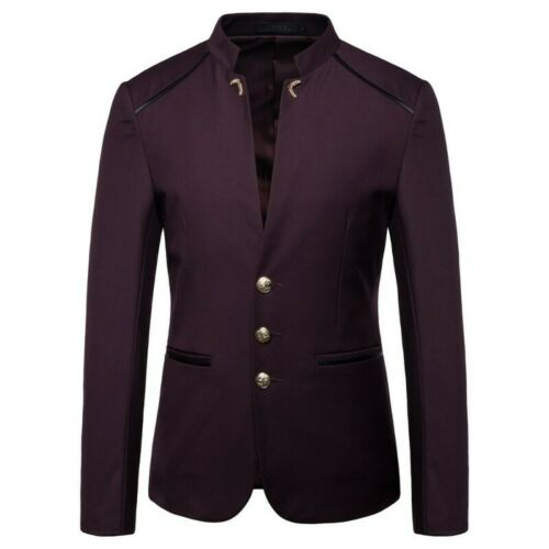Men/'s Blazer Jacket Single Breasted Stand collar Slim Fit Chinese style Casual L