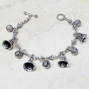 Classic-Novica-Bells-amp-Chimes-38-9g-Sterling-Silver-Charm-Bracelet-QVC-Sold-Out