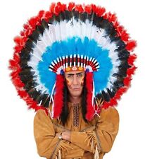 Red/ Blue Feather Native American Indian Chief Headdress Fancy Dress Accessory