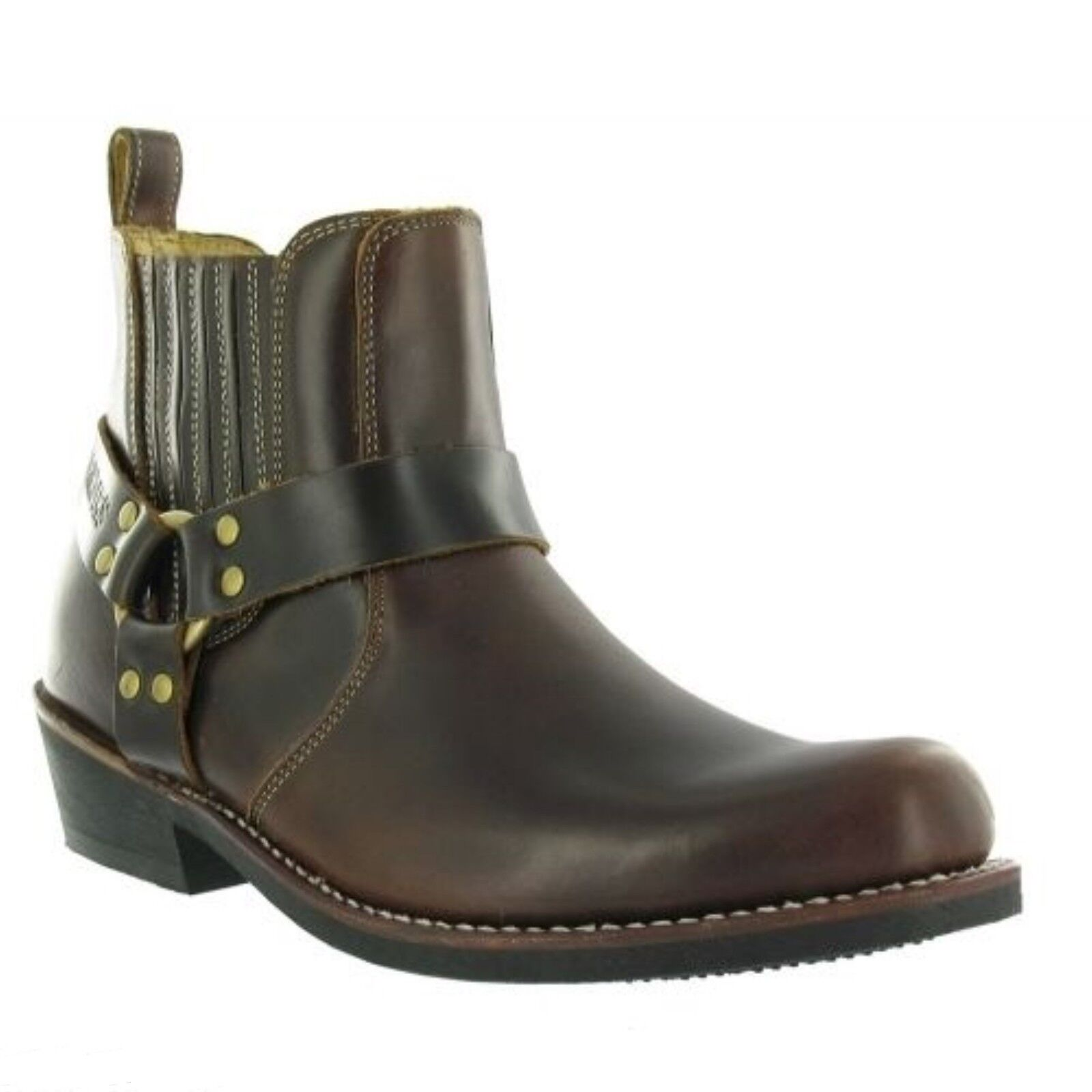 Grinders Rare Waxy Renegade Low Ladies Biker Brown Leather Western Boots Cowgirl