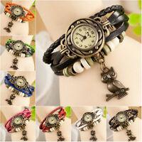 Hot Womens Wrap Leather Bracelet Weave Strap Owl Quartz Analog Wrist Watch Sport