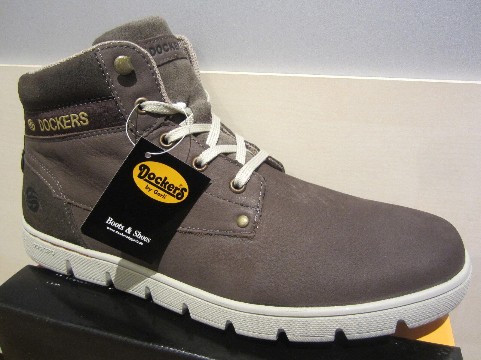 Dockers Stiefel Schnürstiefel Boots, grau, Echtleder, Stofffutter, 352622  NEU