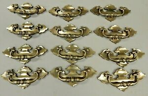 2 Vintage KBC Matching Antique Brass Finish Drawer Pull Fixed Handle #N3646