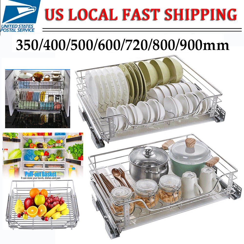 4 x PULL OUT WIRE BASKETS KITCHEN CABINET LARDER CUPBOARDS TO SUIT 500MM CABINET