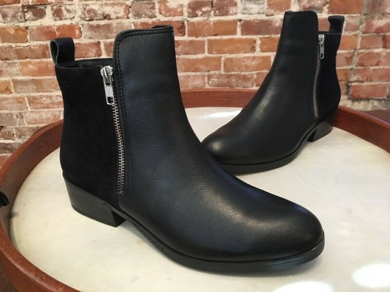 Cougar Black Leather & Suede Waterproof Connect  Ankle Boots 6W NEW