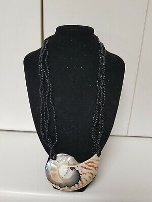 vintage shell and micro bead necklace