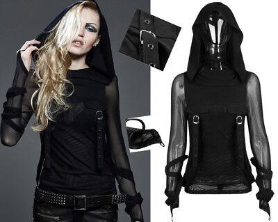 Kapuzen Shirt Top Oberteil Gothic Punk Lolita Netz Fäustlinge Trendy PunkRave