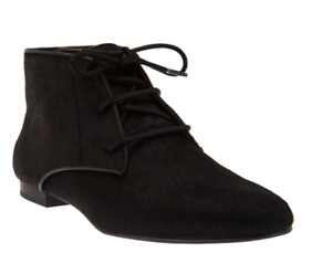 Logo By Lori Goldstein Flat Lace Up Ankle Boots Booties Black Pony