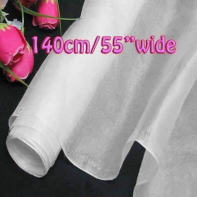 2 Yard Sonw Pure Silk Organza Bridal Dress Fabric 140cm W Sheer